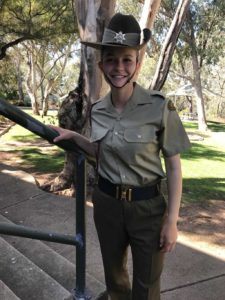 Local, Kate Gilmore, was pictured in full Army dress uniform, after Marching Out at Kapooka, Wagga Wagga