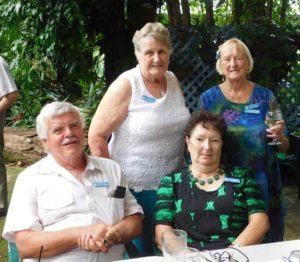 Probus members enjoying Changeover Lunch at Silky Oaks Tea Gardens, Kia Ora: Daryl and Ann Christie and standing, Cherryl Mossman and Judy Kiddle