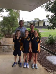 Rainbow Beach State School Principal Danny Stanieg, wife Christine and kids, Jonah, Ava and Meckenzie