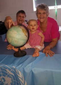 Lorraine Bishop, Joan Barnier and baby Jackie will take part in the Walk the World movement on May 2