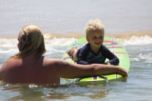 At boardriders, they start them young, Kasey-Cruise Findlater has fun