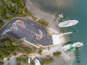 Overhead view of the new $2 million boat ramp and car park at Bullock Point