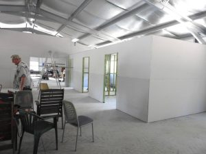 The internal fit-out work is underway at the Tin Can Bay Men's Shed