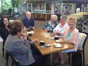 Jenny, Sandra, Vaughan, Margaret, Rhonda, and Annette enjoy lunch at the Ginger Cafe