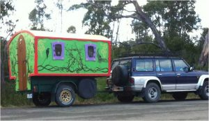 The cutest RV we saw in Ida Bay, Tasmania, a  'Home on Wheels'