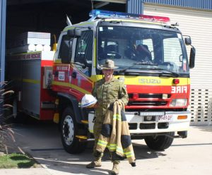 SGT Bruce Bolger from the Australian Defence Force at Camp Kerr Training Facility also works as an Auxiliary firefighter with the Tin Can Bay Fire Station