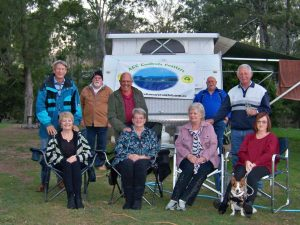 Cooloola Coasters' at their recent Kilkivan Bush Camp: Ian and Coral Gibbins, Sid Fountain, Jim and Joan Smith, Pam Russell, Harold Turnbull, Graeme Wigley - President, Suzanne Fountain with Jett the dog