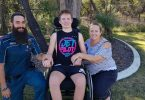 Marc, Tristan and mum Carolyn relax at home - the family express their most sincere thanks to Marc for his ongoing support