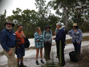 Dr. Don Sands from CSIRO, Shelley Gage and other BioBlitzers after capturing his specimen of the Boronia moth