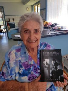 Roma Ravn with her latest novel Reminiscences of a Reluctant Spy