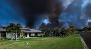 "Peter Thwaites took this dramatic photo in front of his home in Cooloola Cove, entitled  "".... when you've just got to have faith in the local fire fighting crews during their winter burn off."""
