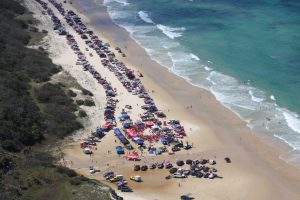 You can see from this Pink Run fundraiser, that generally Teewah Beach has plenty of sand for vehicles, unlike last Easter, where wash-outs have provoked a Noosa bureaucracy. The Pink run is on October 20 for 2018 - Image taken on board Rainbow Beach Helicopters