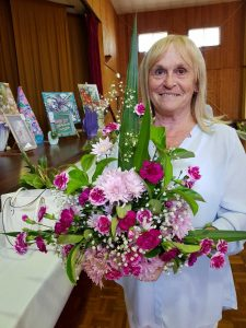 Linda Brown with her winning arrangement at the annual LAC Flower Show