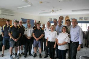 Tin Can Bay Coast Guard QF17 thanked corporate sponsors Mt. Pleasant Social Club, David Brown and family - TCB Marina, Kev and Cath Reibel, Peter Lee - Lee Fishing Company, Terry Steele - Cooloola Coast Disaster Management Committee, Jess Milne - Youth Action Program and Chamber of Commerce, Zoe - TCB Couriers with a familiarisation boat trip on the Bay and morning tea. Mayor Mick Curran and Government Representatives Tony and Michele Perrett, Lachlan Millar, Stephen Bennett, and Pat Weir also attended, and gained an insight into our operations and offered advice for future directions.