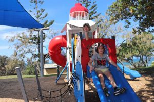 Reuben and Max O'Brien from Maryborough try out the new play equipment at Phil Rogers Park