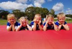 Gemma, Tayah, Zeff, Maddison and Zayden from the U6 and U7 groups look forward to the Cooloola Coast Little Athletics Christmas breakup on December 15