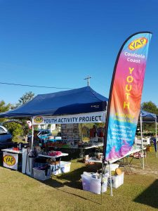 The Cooloola Cove markets stall. YAP is always appreciative of donations to keep this fundraising project going.