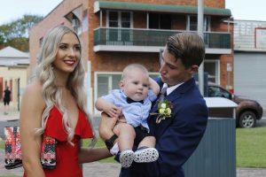 Year 12 2018 Zac McCarthy with partner Shanae White, and his nephew, Noah