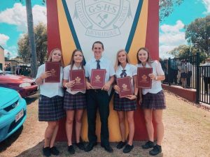All from Tin Can Bay P-10 School: Kayla Tonna, Pariss Delroy, Tyson Mills, Kaitlyn Moraghan and Jadelyn Carey complete Year 12. Congratulations graduates, we wish you all the best!