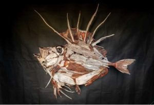 Silver Dory - growing to about 60cm these little fish are found in cool deep southern waters of Australia. This one is made from mixed hardwoods by Grant McFarlane @ saltwoodart Image by Rainbow Beach Wedding Photography