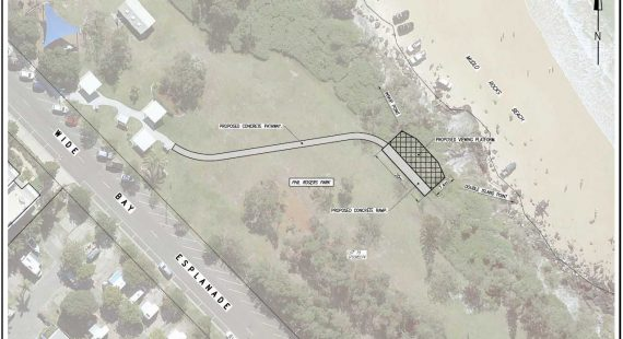 The proposed location of the viewing platform is shown on this map of Phil Rogers Park at Rainbow Beach