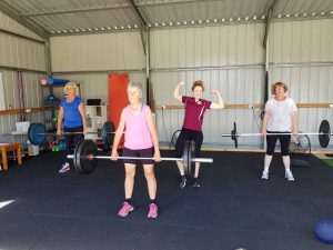 Physio Sue Bennett and trainer Gemma invite you to the Tin Can Bay Physiotherapy Health Club - here they are, working out with Jill and Shazz!