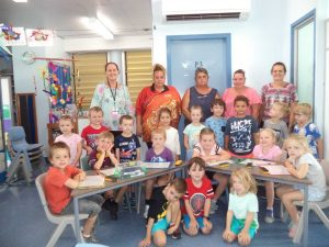 P & C committee members with Prep A students and teacher, Mrs Searl