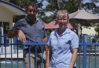 New faces in town - Jaimie and Lisa Kerr, with Tabbe, are the new managers at Rainbow Getaway Holiday Apartments