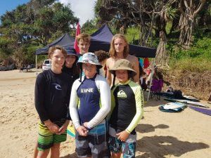 Kaleb Crowe (St Patricks College), Rory Mick and Josh Pamenter, and behind:  Ella Pamenter, Zac and Izaac Cole - all Cooloola Coast kids competed in their home 'beach' for the Wide Bay Trials last month