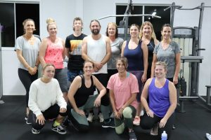 Personal Trainer Rebecca Arthur - second from the left at the front, with locals attending the Thursday night gym class