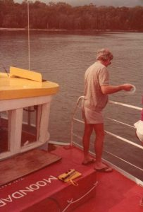 Ian Dean handline fishing on his boat the Moondarra - 1978