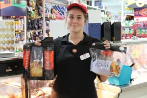 Amy was thrilled to be the pic of the month - she is holding a cooked pork roast and a cooked chook which are delicious!