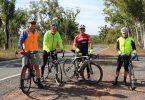 Bike Riders- From L to R Ken Bubb, Roy Yeeles, Darren Jessup, Alan Jones on the Rainbow Beach road.