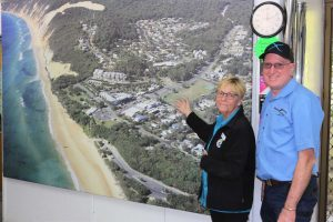 New owner Michiel Pratt with one of his customers, Rainbow Beach Holiday Village's Janine Kent, showing Michiel the changes to the coast