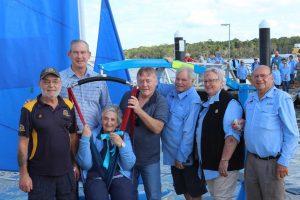 Sailability - Mayor cutting ribbon - Left to right: Dieter Voss, Mayor Mick Curran, Roma Ravn, Cr Mark McDonald, Paul Oliver, Raewyn Oliver, Arthur Hammond