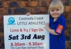 Tiny Tot Bonnie Bate is super excited to see Little Athletics sign on day