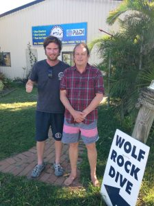 Wolf Rock Dive - Tin Can Bay resident, Jeff Nut, completing his PADI Advanced Open Water with Dive Instructor James