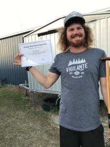 Assistant coach Shane Berkhurt celebrates his accreditation as sweep/steered from Dragon Boat QLD
