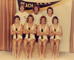 Rainbow Beach Relay Team 1975 Back Row: Ron Organ, Garry Hewitt, Billy Nolan Front: Robert Murray, Greg (Nicky) Wilson, Paul Battle, Peter Lehman - with the most talked about togs of the competition - they were see-through.