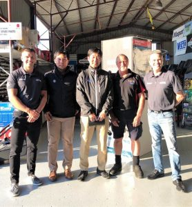 Ryan Lloyd Australian Suzuki GM, Wataru Sakamoto Suzuki Japan, Daiki Sugiura Suzuki Japan, Kerry Gash Tin Can Bay, John Haines Jnr CEO/ Director of the Haines Group Brisbane
