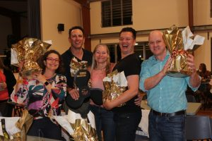 Winners are Grinners - Heatley & Michelle Gilmore; Mark and Tanya Beech; Andrew Hawkins; Naomi & Jim Cole; Mike Brantz took home the prizes