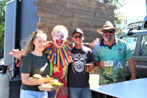 Variety Bash - Bailee McGrath, Damian the Variety Clown, Nigel Worthington and Kroppy looking after the teams