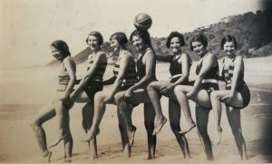 Glamour girls at Double Island. Jessie Mallet far right