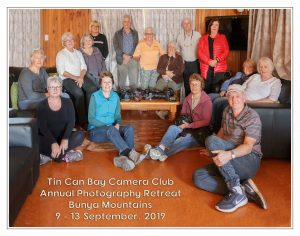 Member of the Camera Club enjoyed the Bunya Mountains Retreat Back, standing L-R: Paivi Lobigs, Frank Posch, Claire Hammond, Cheryl Murphy and John Murphy, Maree Davies. Middle, sitting L-R: Mary Boyce, Cathy Reed, Ingrid Chennells, Wendy Heaslip, Jacquie Cross. Front, sitting L-R: Julie Hartwig (President), Sue Mason, Leigh Reinhardt and Greg Reinhardt.
