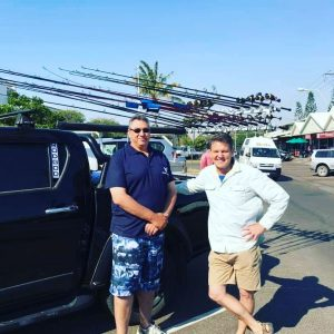Owner of Hooked on Fishing, Allen Van Klooster, with Rob Paxevanos, host of Fishing Australia