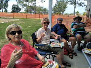 Sabine Deimel, Annette Collins, Doug Collins, Ross Brown from the Over 60s enjoyed a barbecue at Norman Point