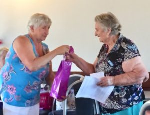 Probus President, Jo Said, presenting a gift to our October guest speaker and member, Roma Ravn