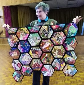 Louise with her beautifully designed quilt