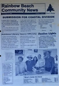 The front cover of the first Rainbow Beach Newspaper produced on December 17, 1998