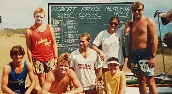 Pictured are the winners of the 1987 Robbie Pryde Memorial Classic - Paul Poncini, Spot, Grant Boyce, Cliff Speed